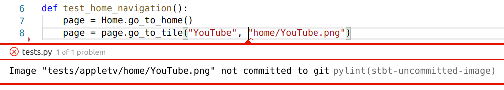 Image 'tests/appletv/home/YouTube.png' not committed to git - pylint(stbt-uncommitted-image)